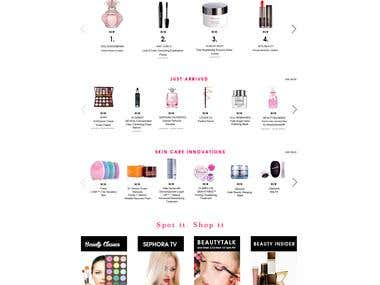 Home Page PSD Design of Cosmetic Site