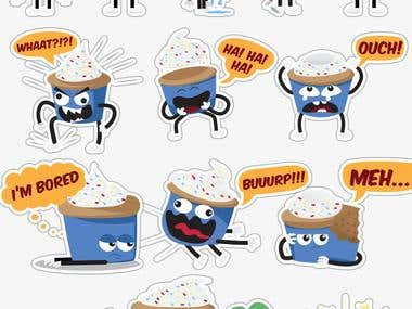 Cupcake Sticker Illustration