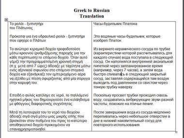 Translation Greek to Russian