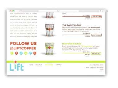 Lift: Coffee for Creatives (web design)