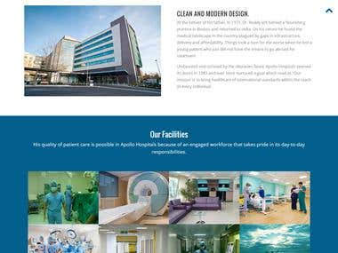 hospital website design for one of my clients