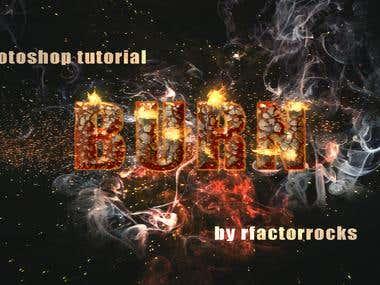 BURN text effect using adobe photohop
