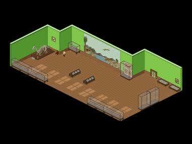 Pixel art isometric museum
