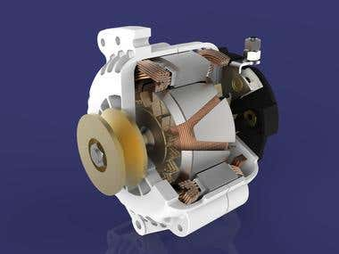 Alternator 3D modeling and Rendering