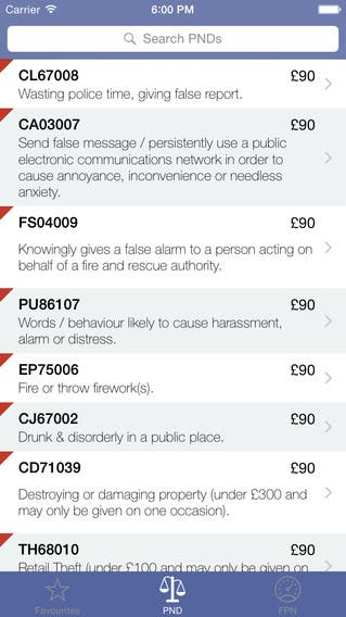 Penalties - UK Police reference iPhone app