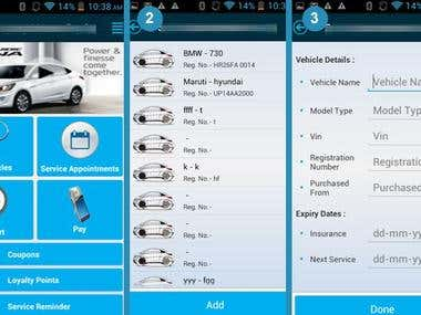 Android App for Online Service Mgmt of Cars
