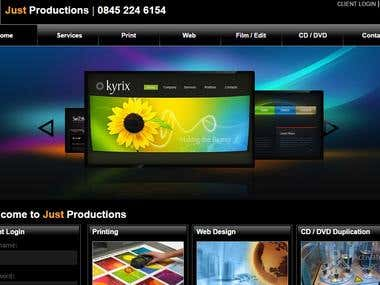 Just Productions Site Design