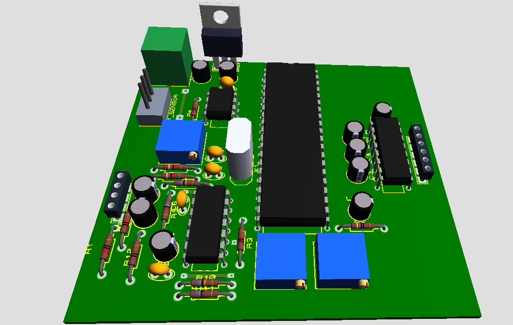 3D view of PCB for monitoring temperature and heart rate