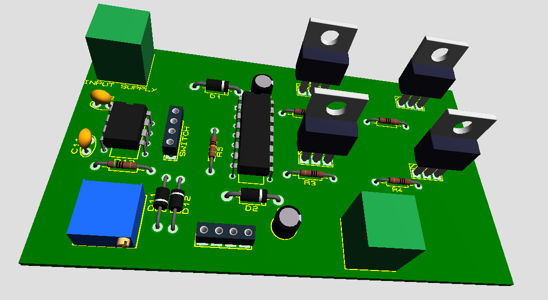 3D PCB Design of H-Bridge Motor Controller