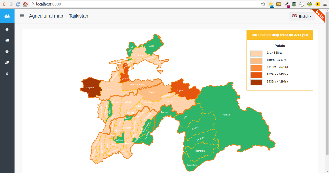 Interactive Agricultural Map of Tajikistan