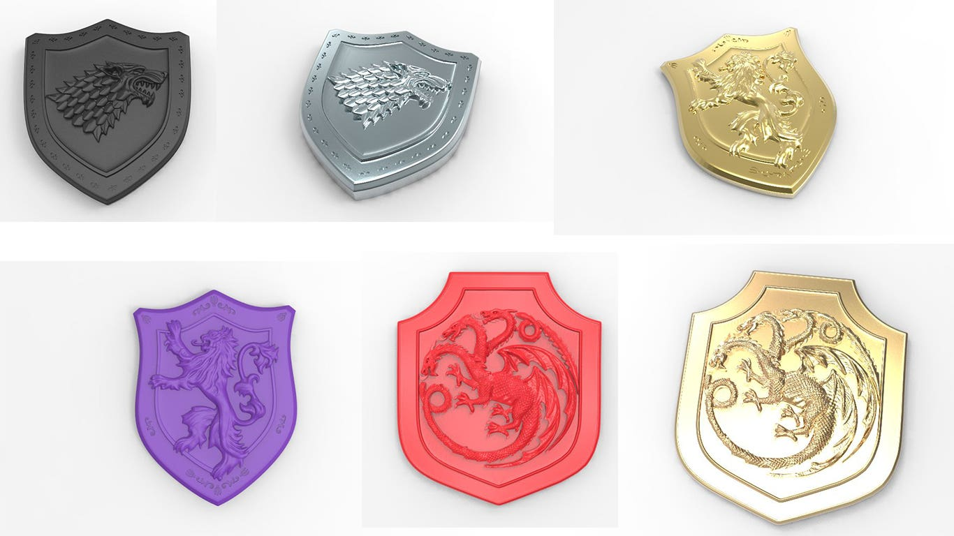 3D Printed metal--Game of Thrones Sigils. and title