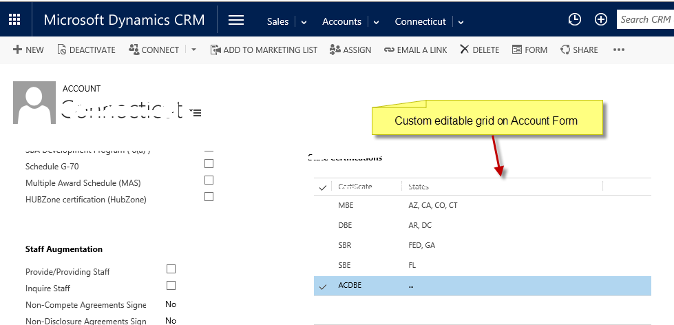 MS Dynamics CRM - Custom grid on Entity Form