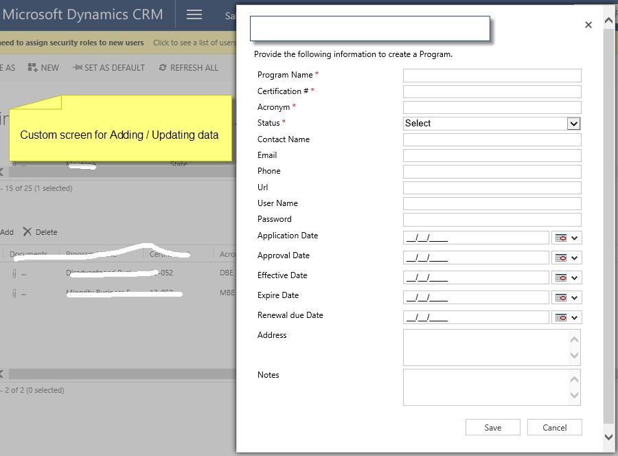 MS Dynamics CRM - Custom screen