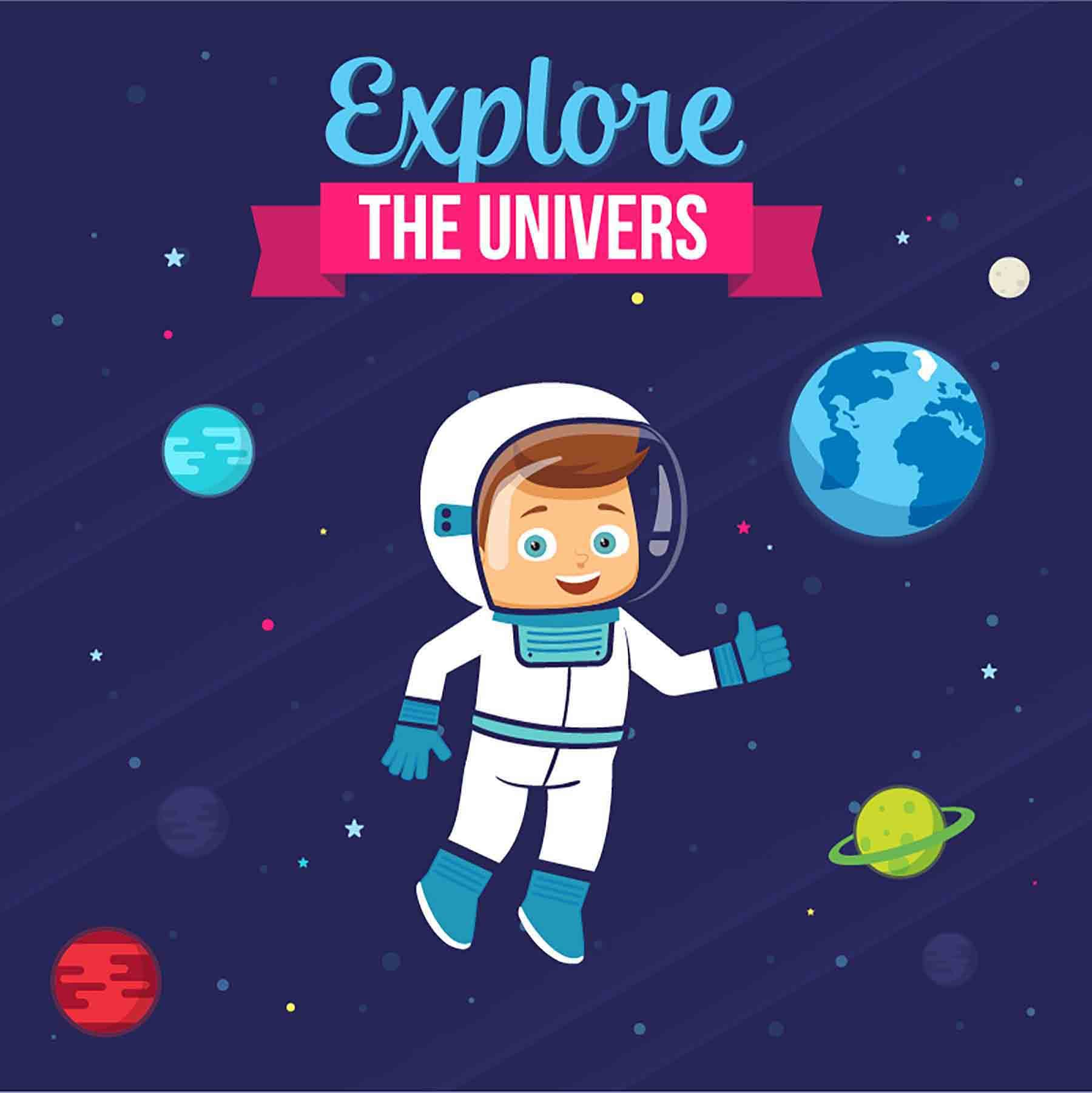 Cute Space with Rocket and Astronaut. Vector Illustration
