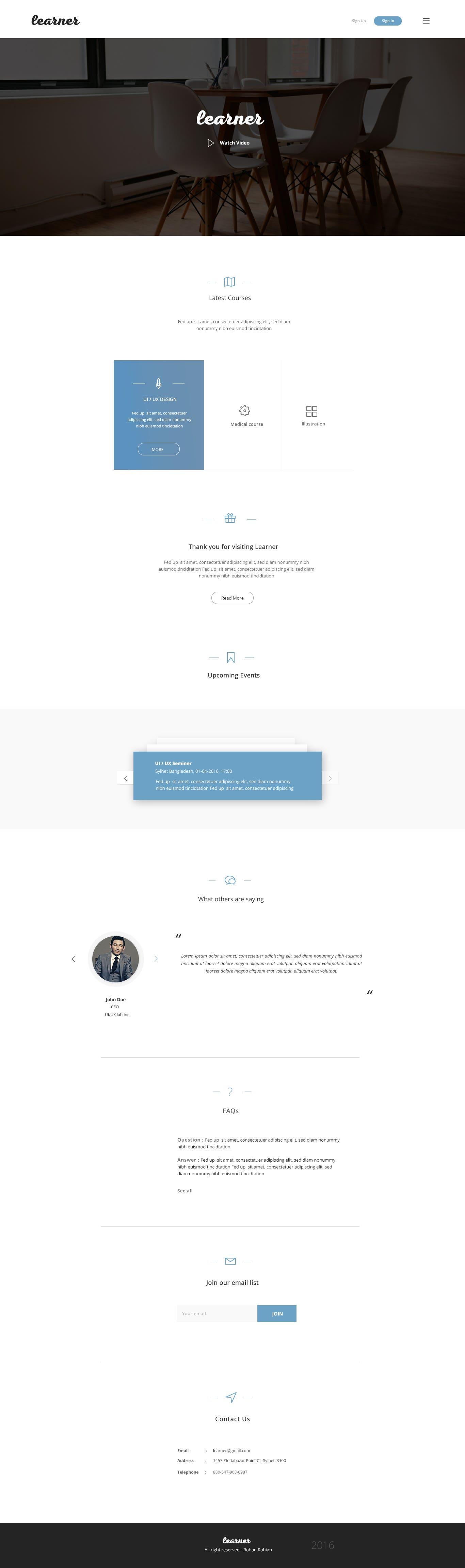 learner - landing page design