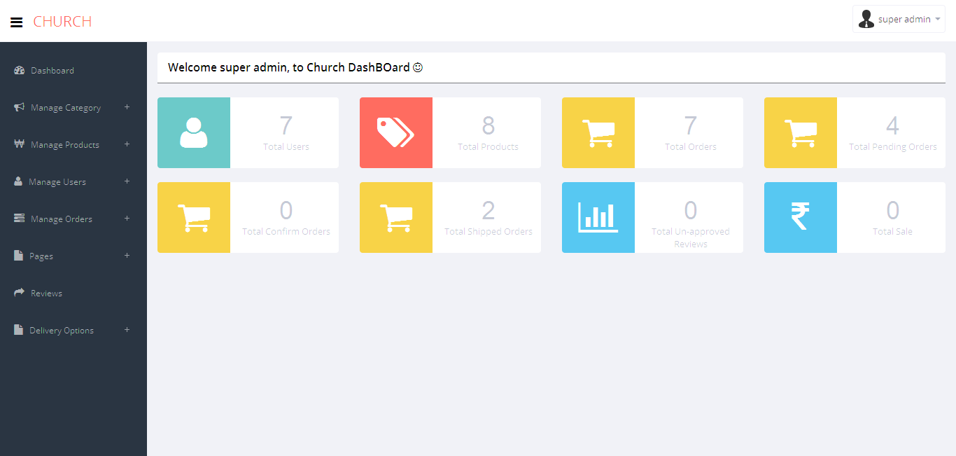 codeigniter backend admin panel for ecommerce website