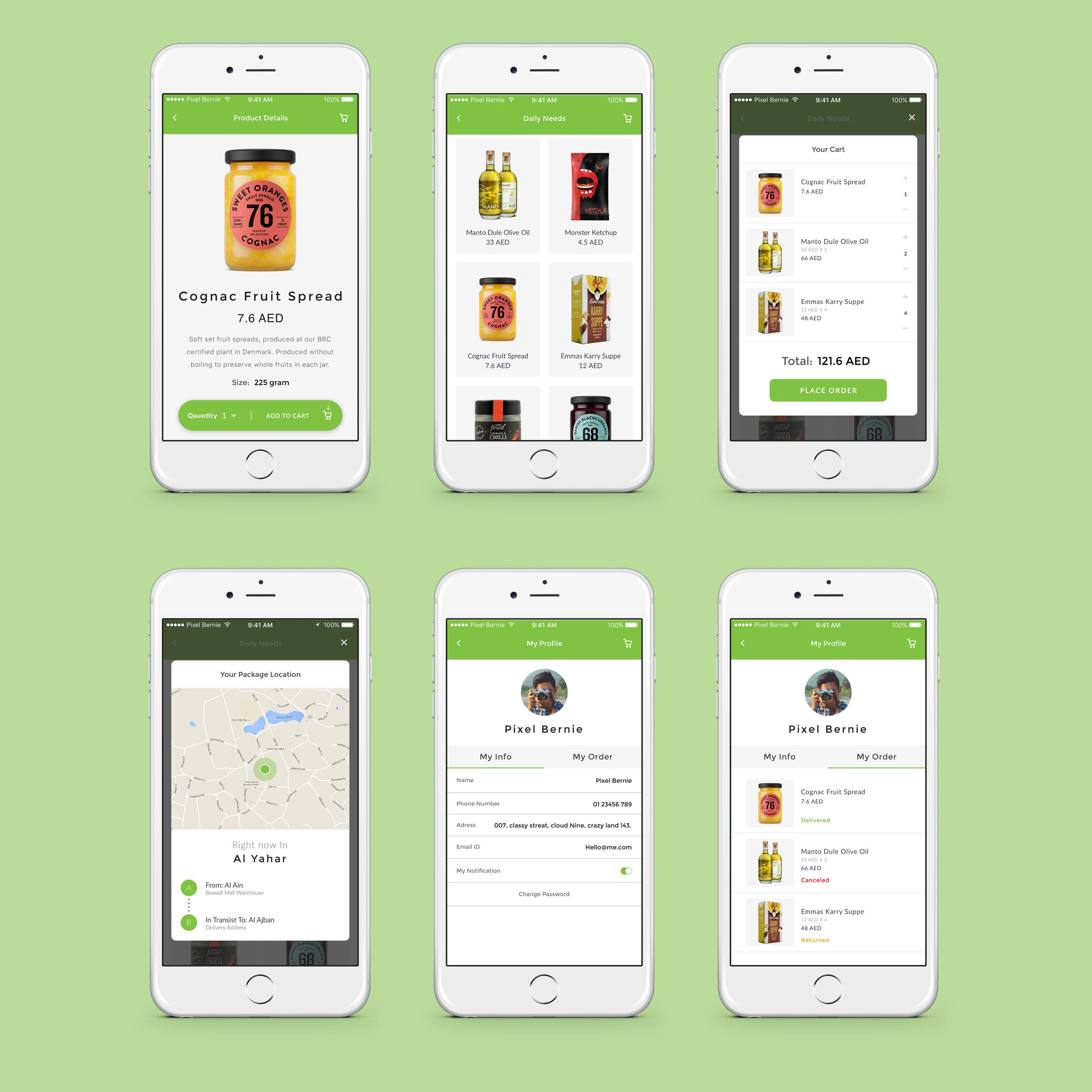 E commerce app design for grocery shopping.
