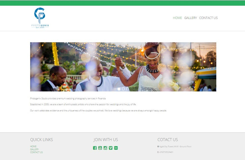 PHOTOGENIX site in Wordpress Theme