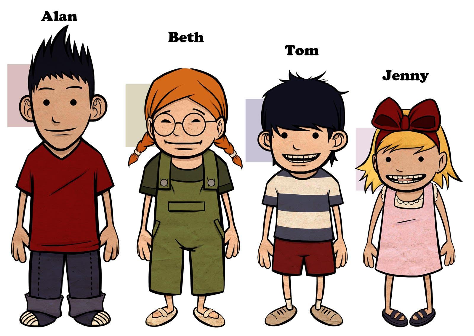 Kids model sheet (commission - mobile game)