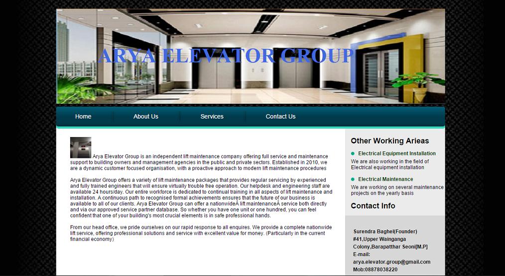 Website created for Aarya Elevator Group