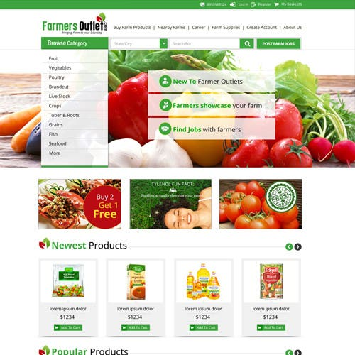 Marketplace for farms, farmers to adverts their products.