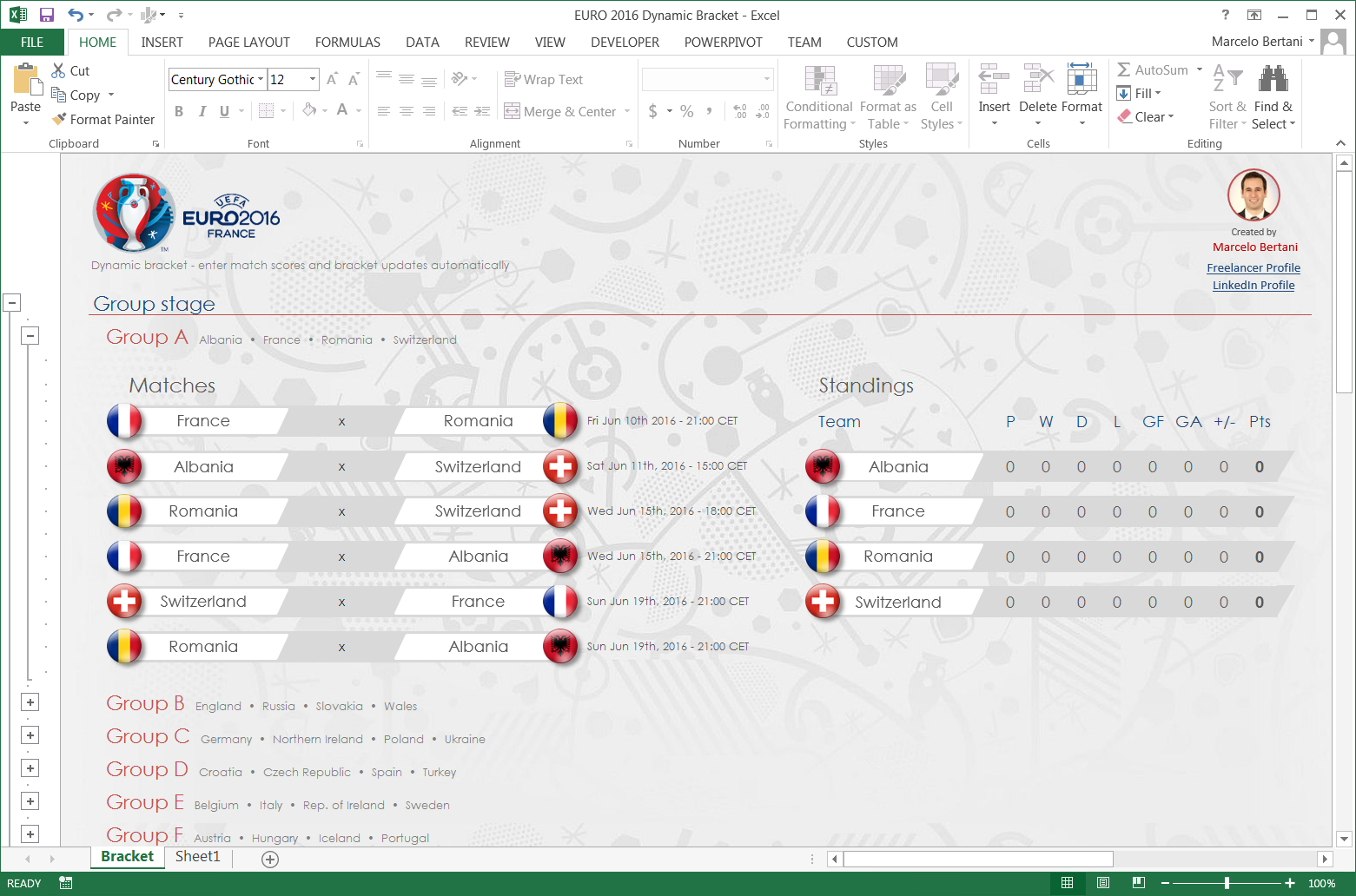 Euro 2016 Dynamic Bracket in Excel