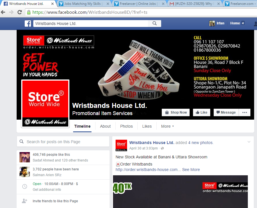 Facebook Marketing At Wristbands House Ltd.
