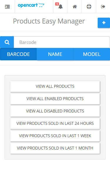 OpenCart 2 Products Easy Manager (adaptive for mobile phone)