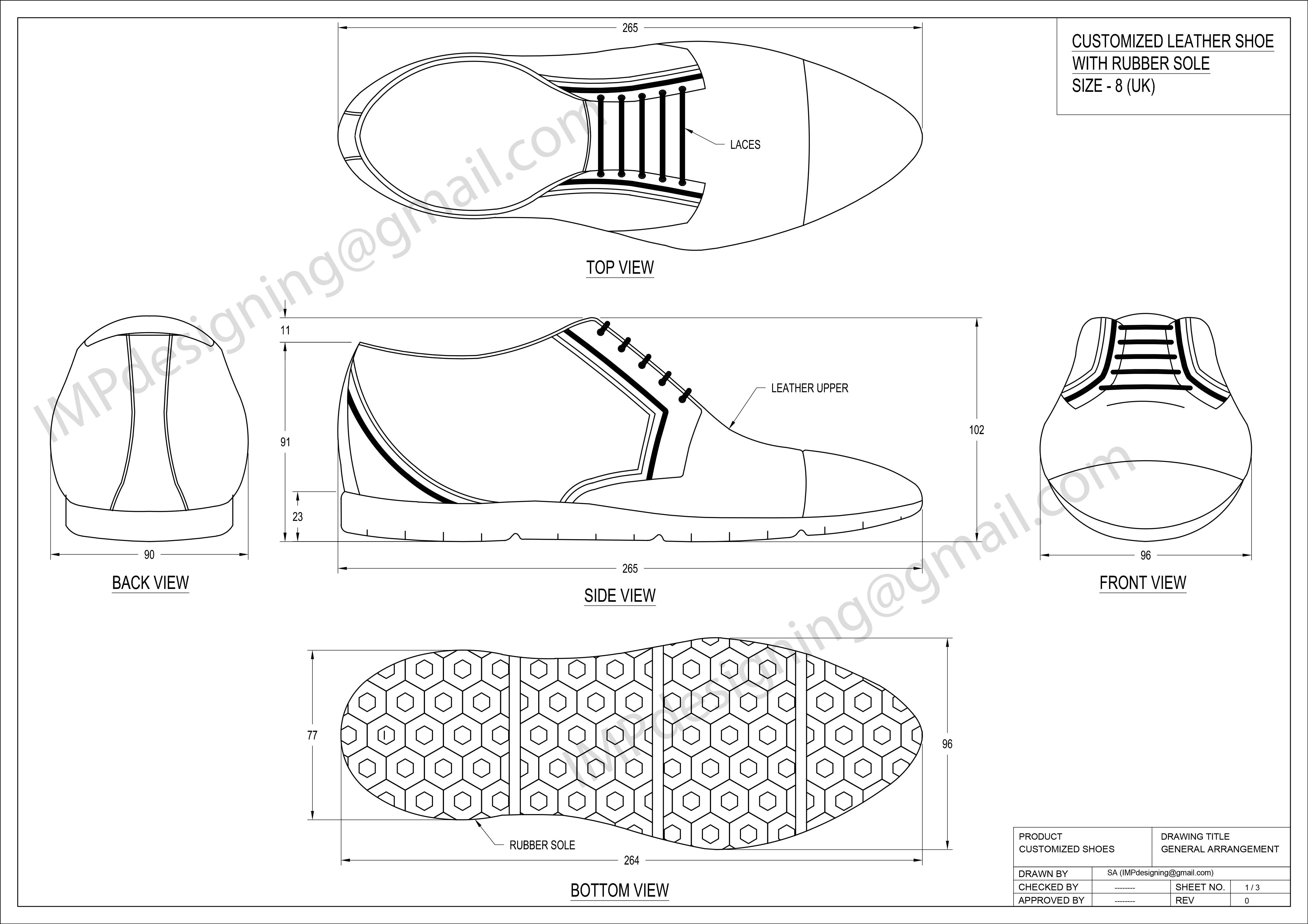 Customized shoes design-sketches and CAD