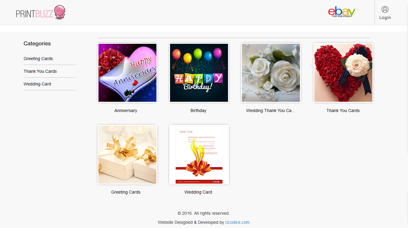 Online custom greeting card design website - Codeigniter