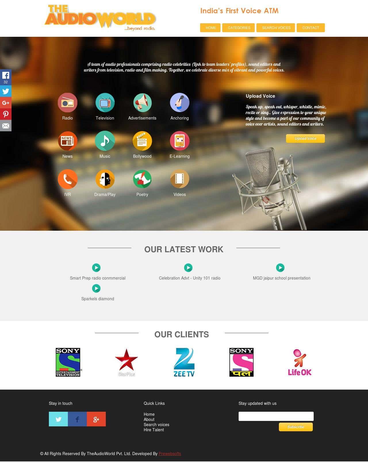 """Website for """"Audio World"""""""
