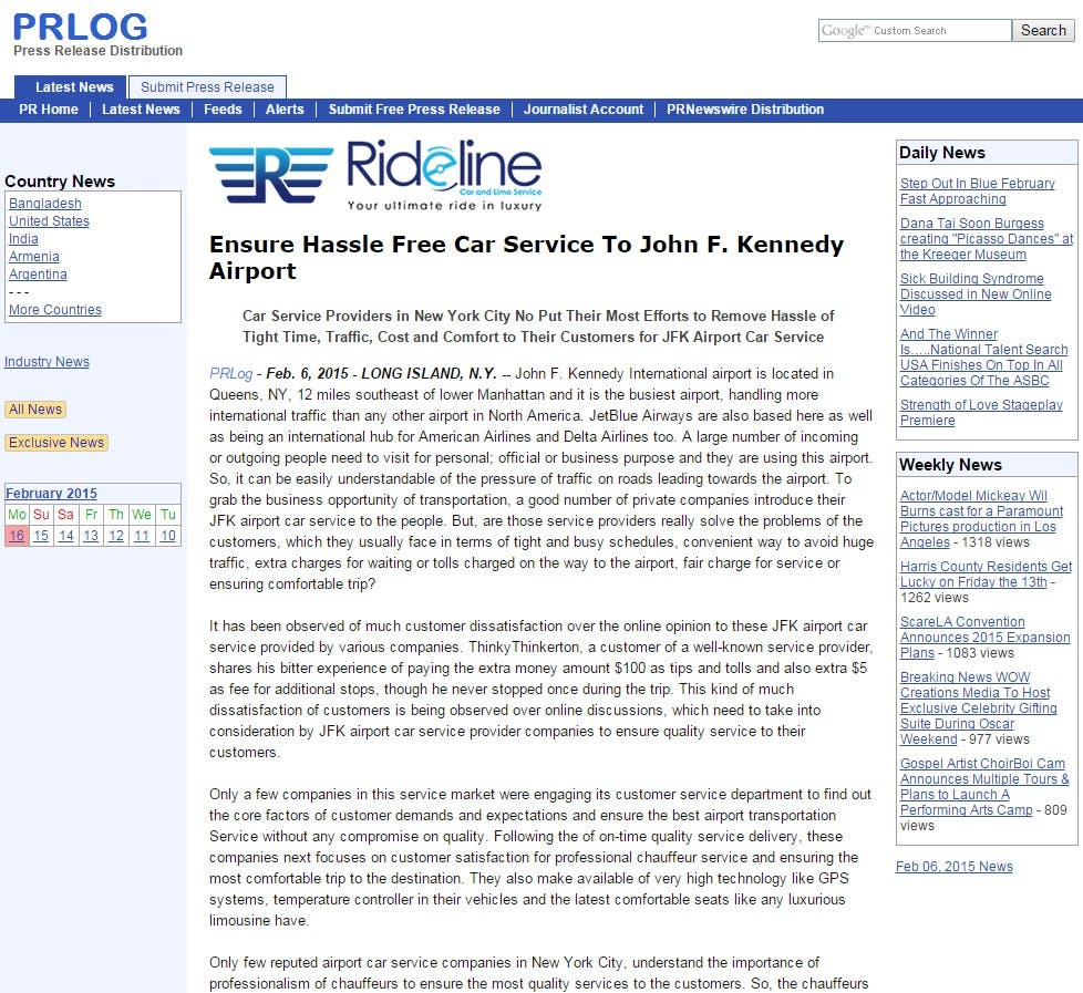 Published Press Release on a PR 6 Press Release Directory