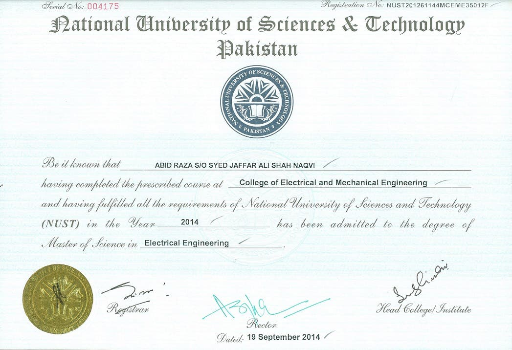 Masters in Electrical Engineering (Control Systems)