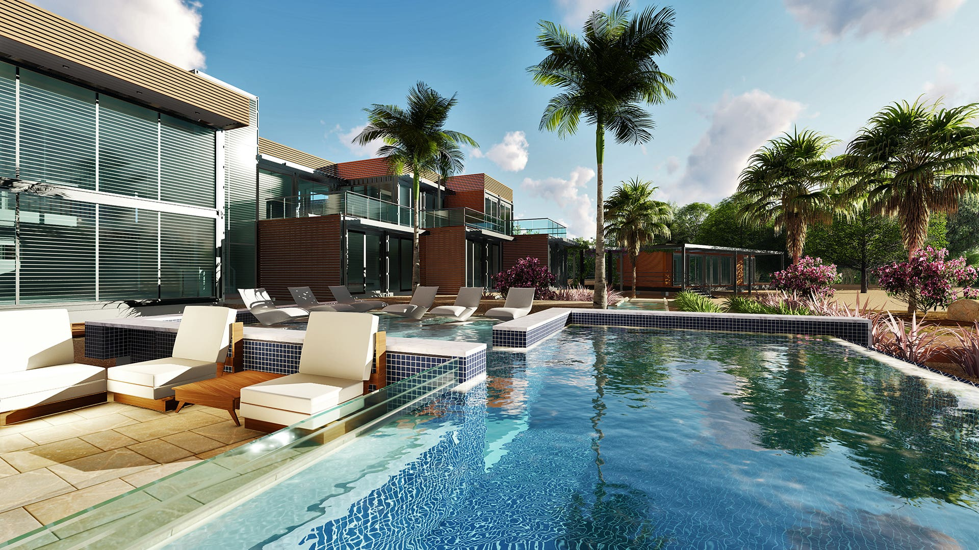 Architectural work of pool area and landscape