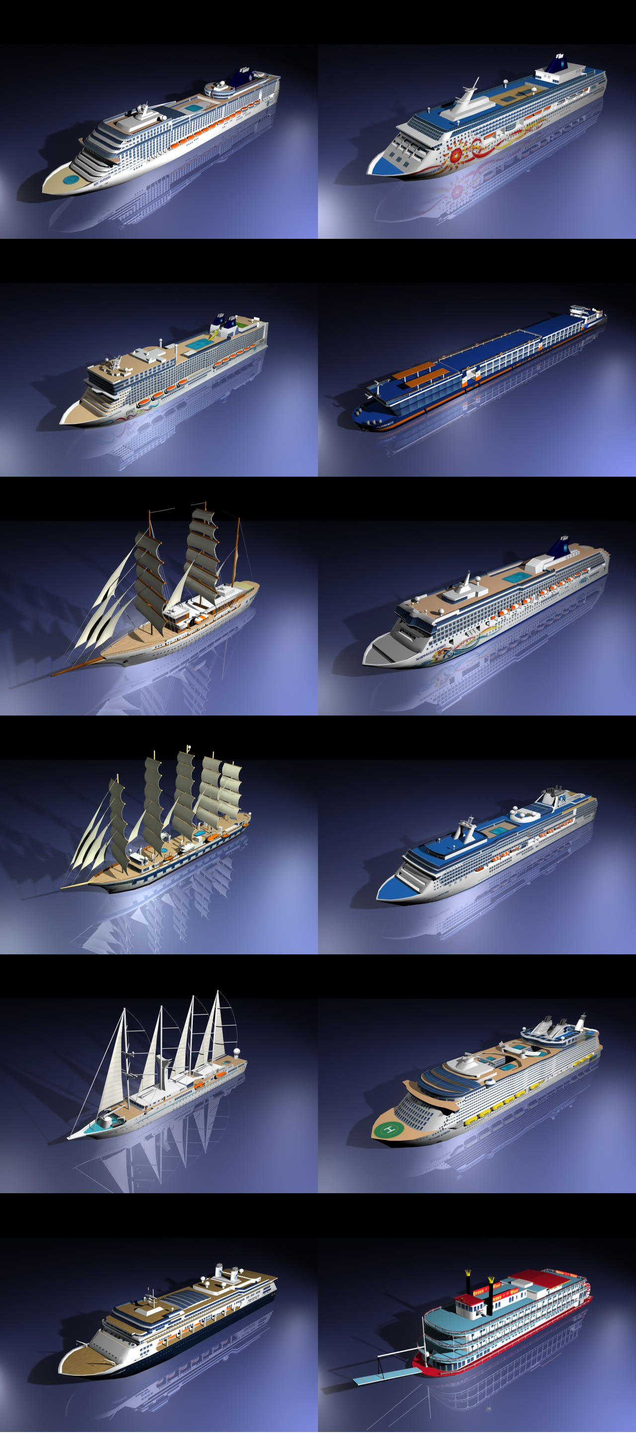 3D models of cruise ships - modeling + texturing