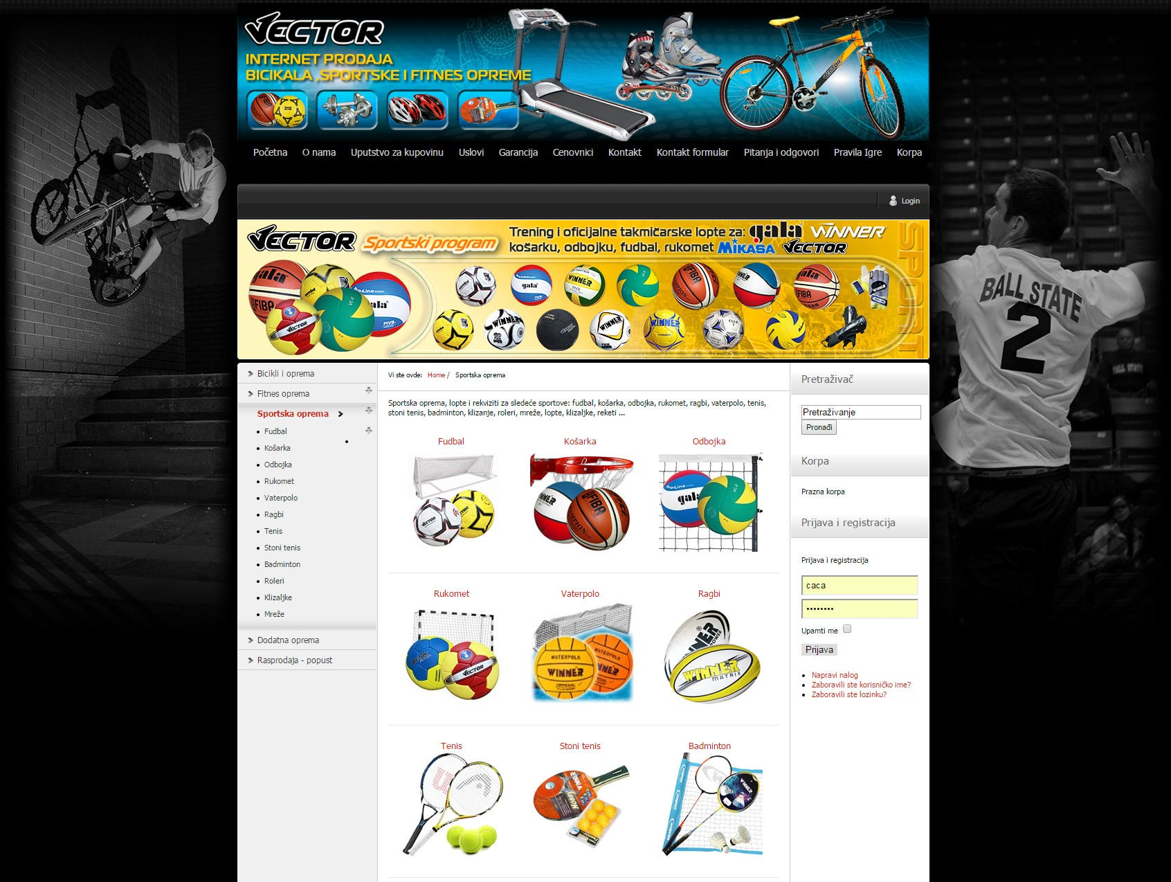 E-commerce - sports equipment web shop, Joomla, Virtuemart