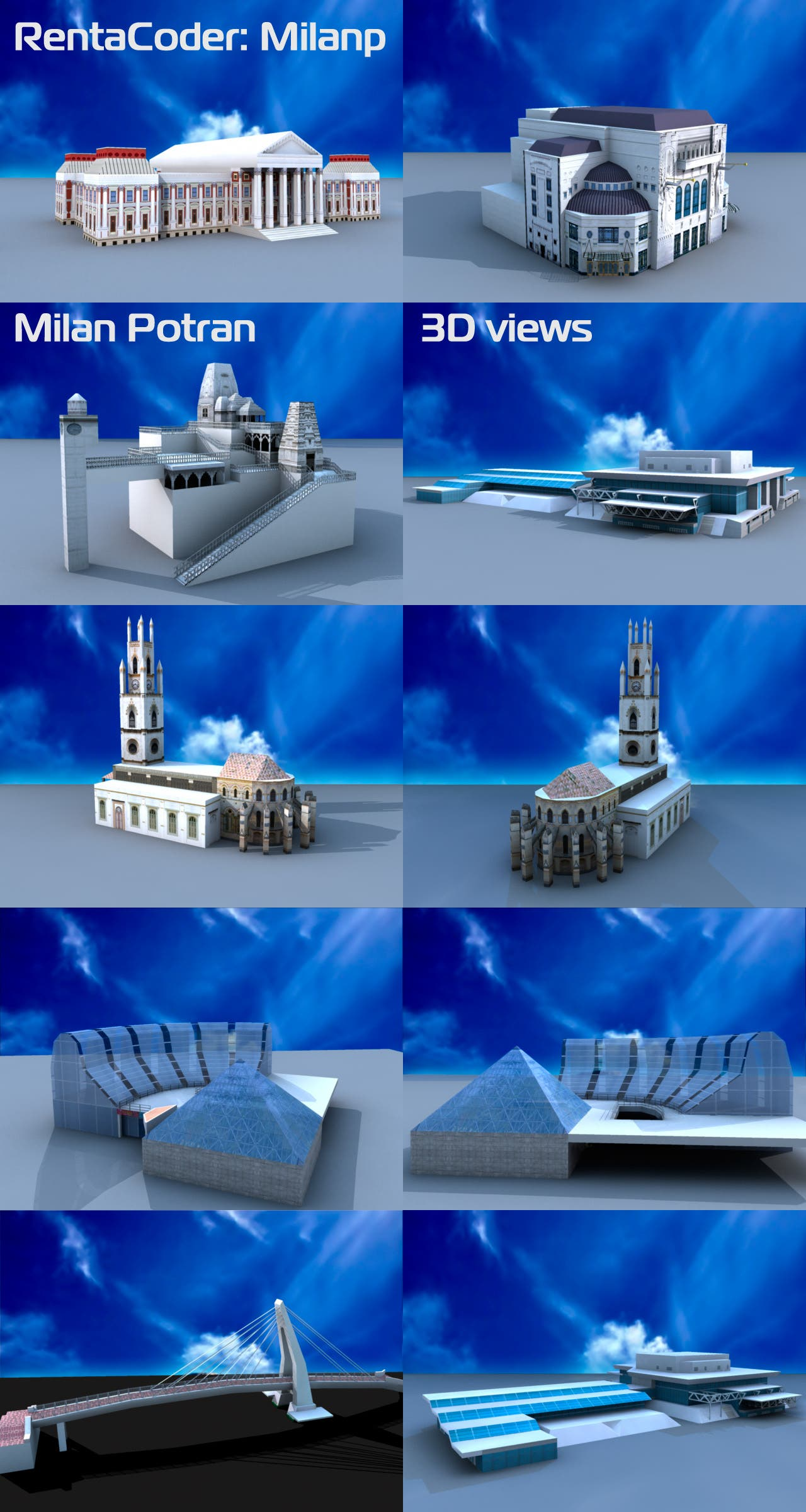 3D models of buildings / landmarks, low poly
