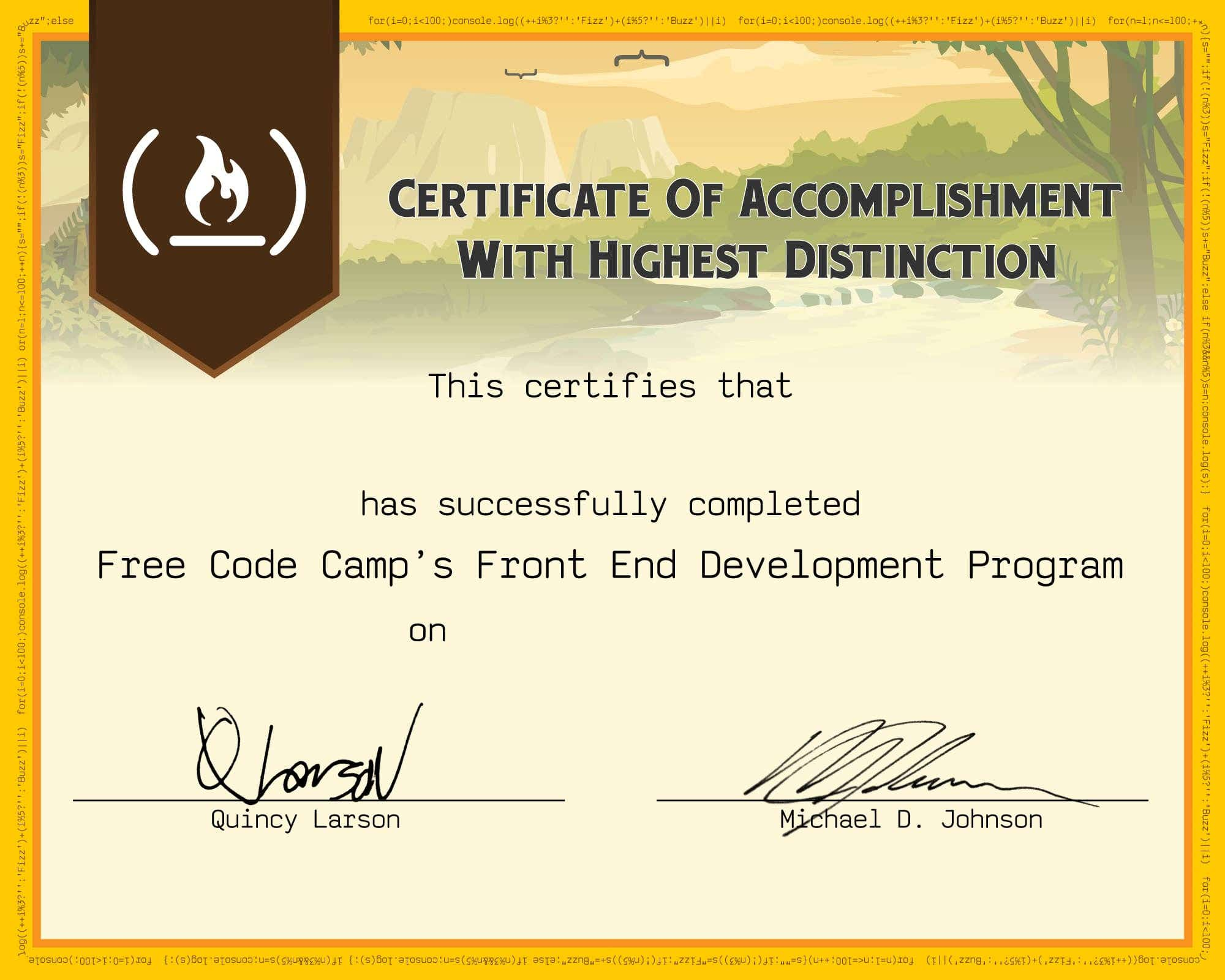 Free Code Camp's Front End Development