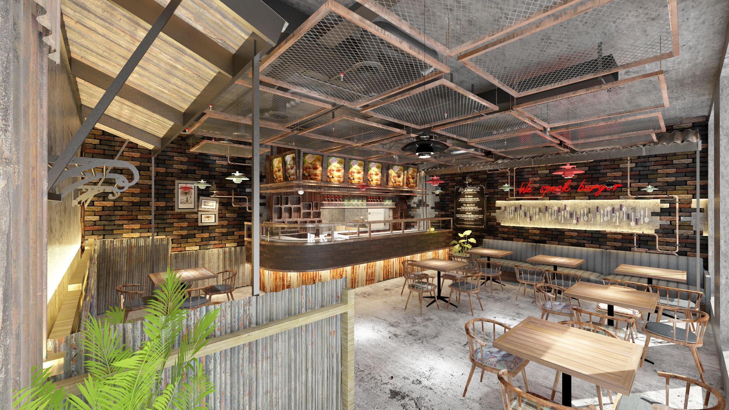 Burger Shop Interior Design | Freelancer