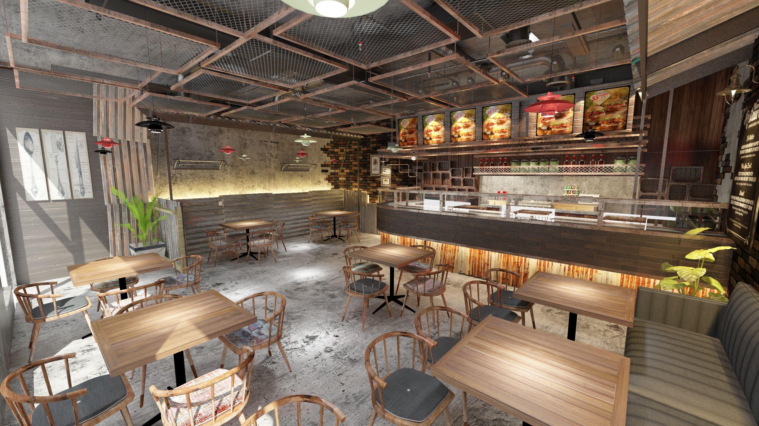 Burger Shop Interior Design   Freelancer