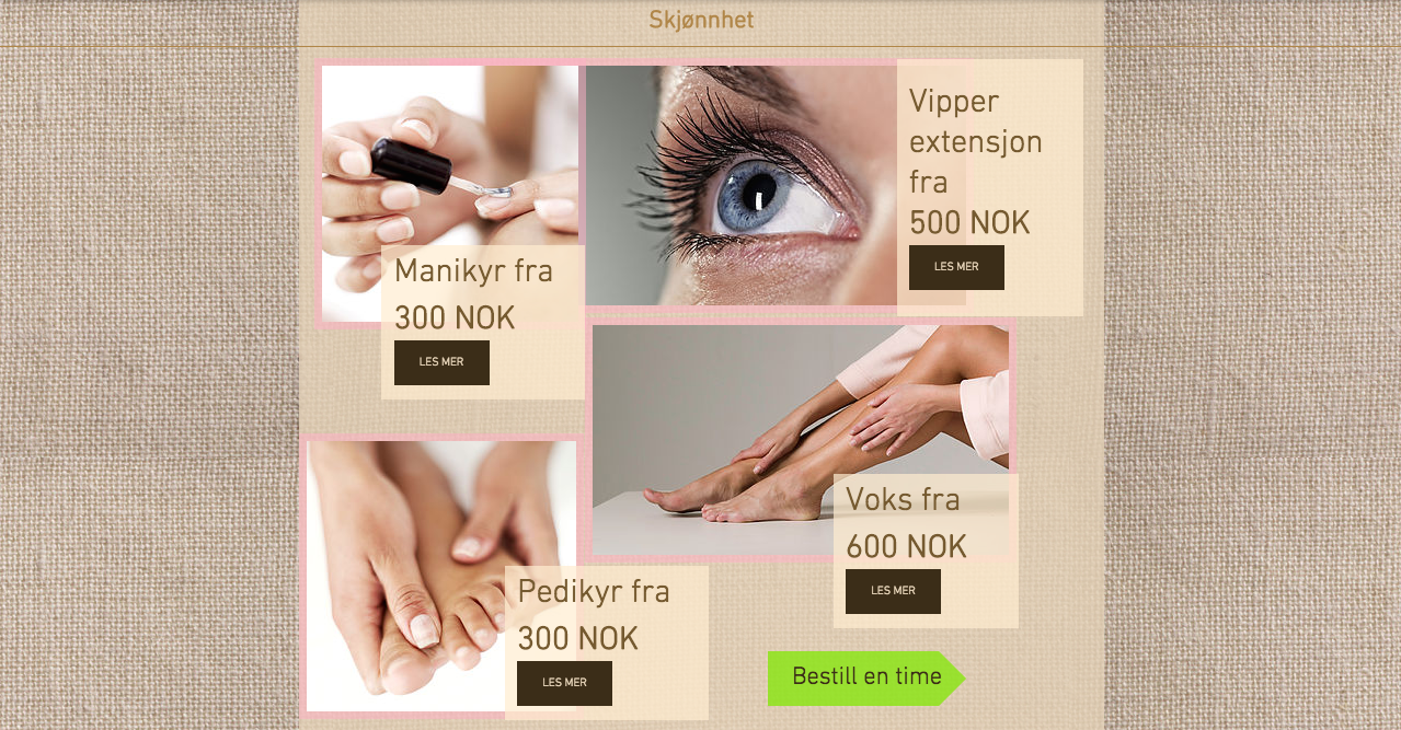 Beauty salon website with booking system