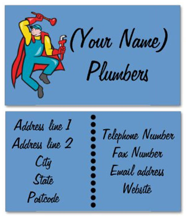 Plumbing Services start up company business cards