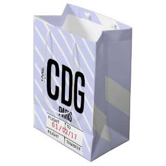 Paris CDG Airport Tag Corporate Party Medium Gift Bag