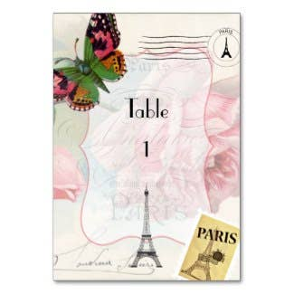Paris Wedding Vintage Shabby-Chic Pink Rose Table Number