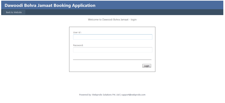 DBJ - Dawoodi Bohra Jaman Booking Application