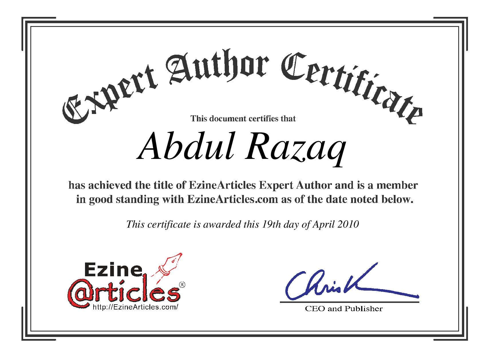 Ezine Article Authorship Certificate