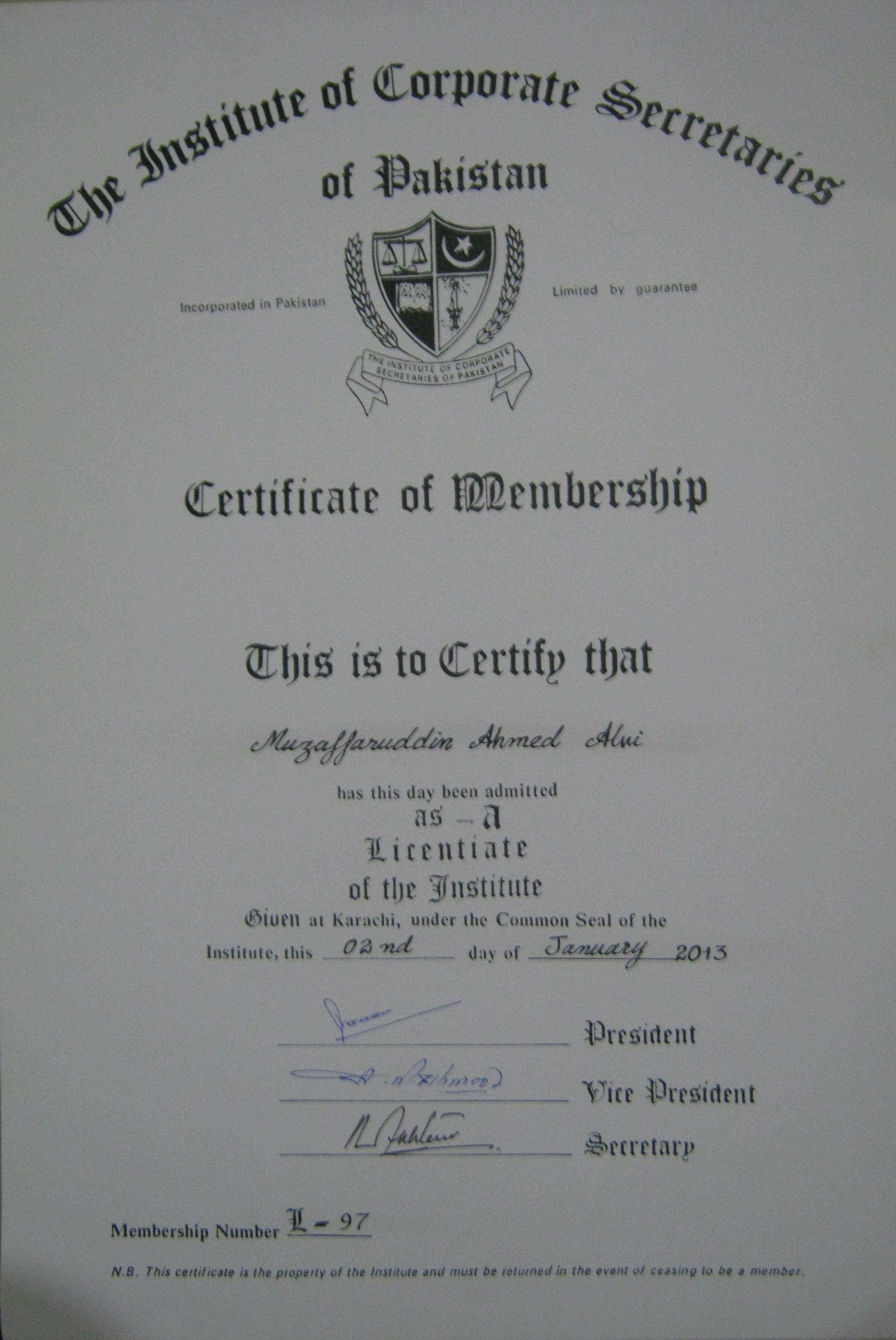 Certificate (Membership No: L-97)