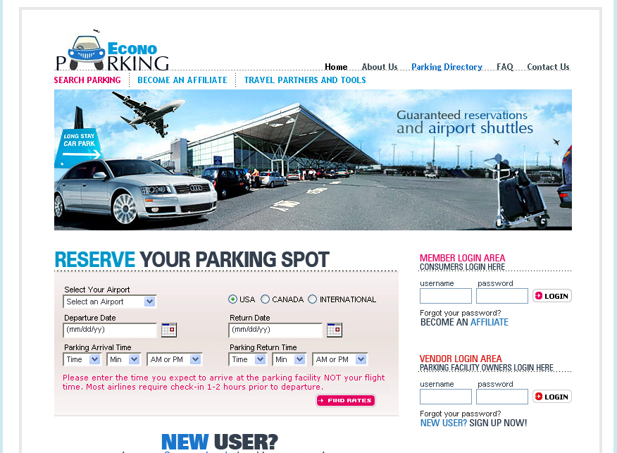 ACCOMMODATION, TRANSPORTATION AND PARKING WEBSITE