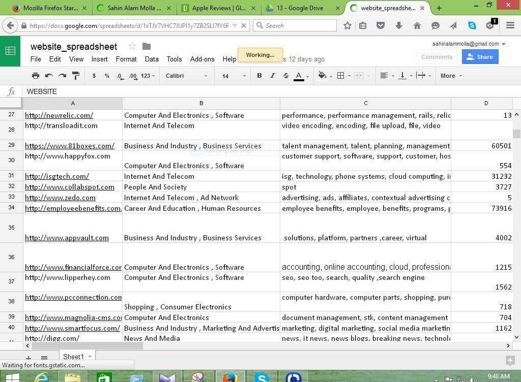 data entry at Google spreadsheet