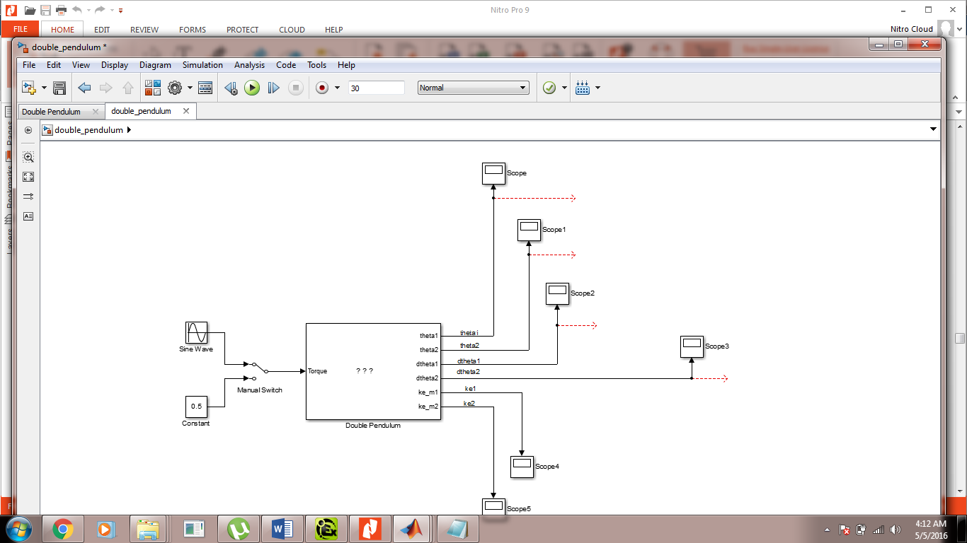 Simulink Model of second pendulum